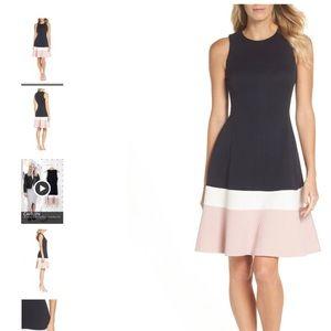 Eliza J Colorblock Texture Knit Fit & Flare Dress